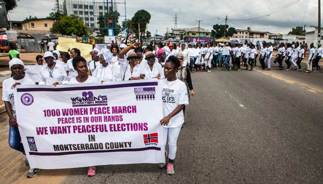 woman march for peacful election liberia